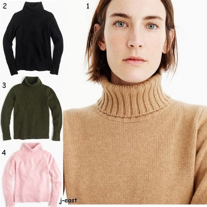 Cashmere Long Sleeves Plain Turtlenecks