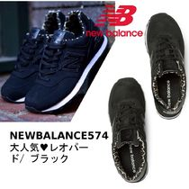 New Balance 574 Leopard Patterns Round Toe Casual Style Street Style
