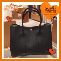 HERMES Garden Party Unisex A4 Plain Leather Totes