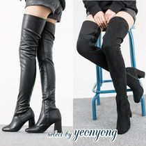 Casual Style Suede Plain Block Heels Over-the-Knee Boots