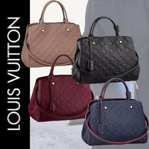 Louis Vuitton MONTAIGNE Monogram 2WAY Bi-color Leather Elegant Style Handbags