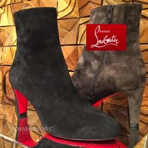 Christian Louboutin Round Toe Suede Plain Block Heels Ankle & Booties Boots