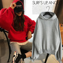 NANING9 Casual Style Long Sleeves Plain Cotton Medium Oversized