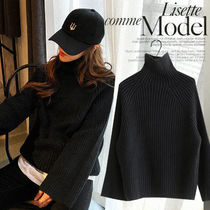 NANING9 Cable Knit Casual Style Street Style Long Sleeves Plain