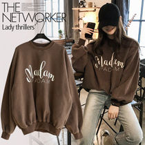 NANING9 Casual Style U-Neck Long Sleeves Cotton Medium Oversized