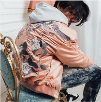 ONLY THE BLIND Short Flower Patterns Unisex Street Style Varsity Jackets