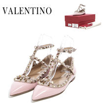 VALENTINO Plain Leather Party Style Slip-On Shoes