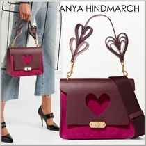 Anya Hindmarch BATHURST Heart 2WAY Plain Leather Elegant Style Shoulder Bags