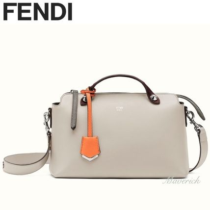 Fendi Handbags Regular Boston Bag Light Grey With Orange