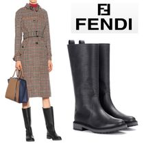 FENDI Round Toe Rubber Sole Casual Style Flat Boots