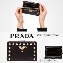 PRADA Calfskin Studded Plain Folding Wallets