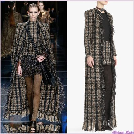 Other Check Patterns Tweed Long Fringes Elegant Style Coats