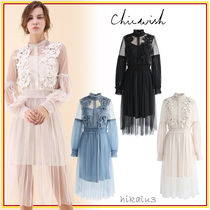 Chicwish Flower Patterns Flared Long Sleeves Medium High-Neck Lace