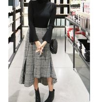 Flared Skirts Gingham Casual Style Long Maxi Skirts