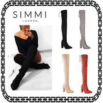 SIMMI Suede Plain Block Heels Elegant Style Over-the-Knee Boots