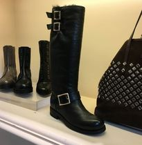 Jimmy Choo Round Toe Plain Leather Boots Boots