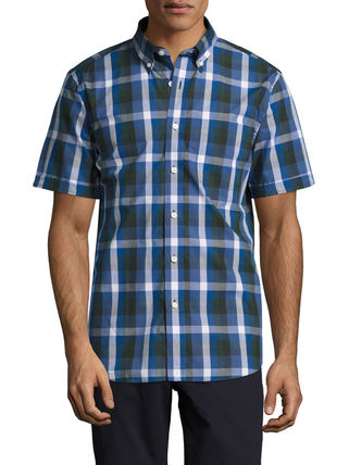 Button-down Other Check Patterns Cotton Short Sleeves Shirts