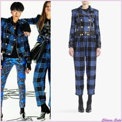 Other Check Patterns Tweed Elegant Style Biker Jackets