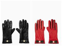 kate spade new york Plain Leather Elegant Style Leather & Faux Leather Gloves