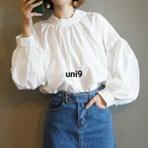 Plain Cotton High-Neck Puff Sleeves Shirts & Blouses