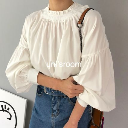 Shirts & Blouses Plain Cotton Elegant Style Puff Sleeves Shirts & Blouses 3