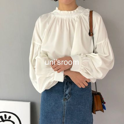 Shirts & Blouses Plain Cotton Elegant Style Puff Sleeves Shirts & Blouses 7