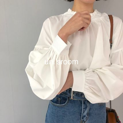 Shirts & Blouses Plain Cotton Elegant Style Puff Sleeves Shirts & Blouses 8