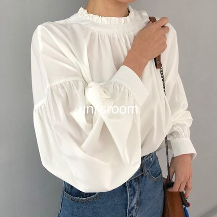 Shirts & Blouses Plain Cotton Elegant Style Puff Sleeves Shirts & Blouses 9