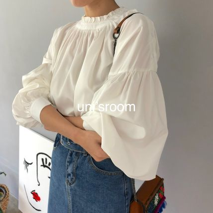 Shirts & Blouses Plain Cotton Elegant Style Puff Sleeves Shirts & Blouses 10