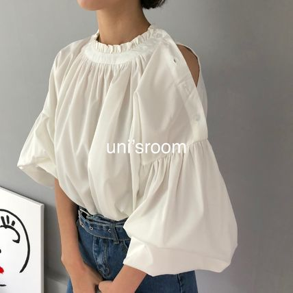 Shirts & Blouses Plain Cotton Elegant Style Puff Sleeves Shirts & Blouses 12