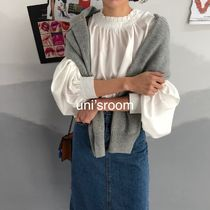 Plain Cotton Elegant Style Puff Sleeves Shirts & Blouses