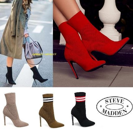 Steve Madden Ankle & Booties Casual Style Street Style Plain Pin Heels