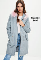 Missguided Casual Style Faux Fur Blended Fabrics Parkas