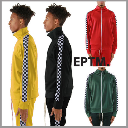 Other Check Patterns Street Style Plain Track Jackets