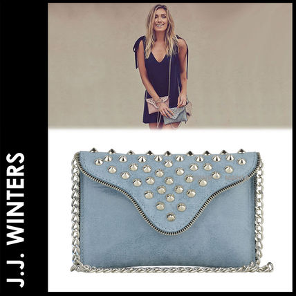 Casual Style Studded Plain Leather Shoulder Bags