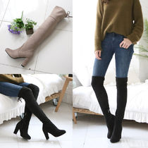 Casual Style Suede Street Style Plain Over-the-Knee Boots