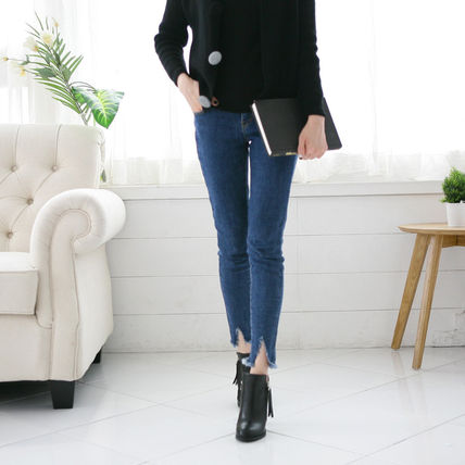 Ankle & Booties Round Toe Faux Fur Street Style Plain Block Heels 3