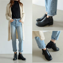 Round Toe Casual Style Faux Fur Street Style Plain