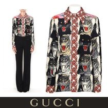GUCCI Casual Style Silk Long Sleeves Other Animal Patterns Medium