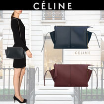 CELINE Tri Fold Calfskin Chain Plain Party Style Clutches