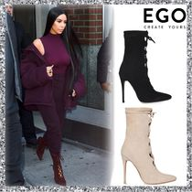 EGO Lace-up Casual Style Suede Plain Pin Heels Lace-up Boots