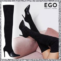 EGO Casual Style Suede Plain Pin Heels Over-the-Knee Boots