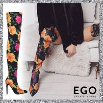 EGO Flower Patterns Casual Style Pin Heels Over-the-Knee Boots