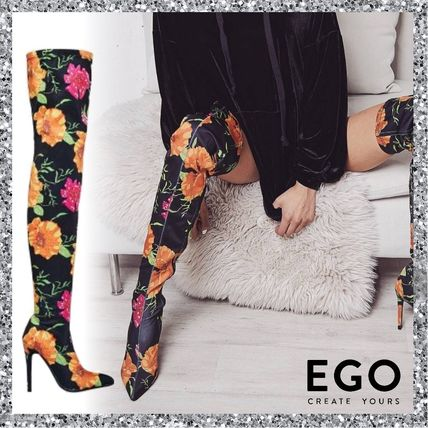 Flower Patterns Casual Style Pin Heels Over-the-Knee Boots