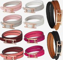 HERMES Costume Jewelry Unisex Leather Office Style Bold Bracelets