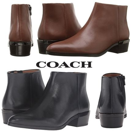 Plain Leather Ankle & Booties Boots