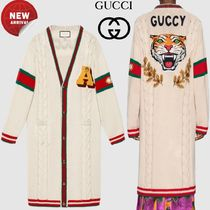 GUCCI Cable Knit Casual Style Wool Long Sleeves Plain Long