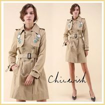 Chicwish Flower Patterns Casual Style Plain Medium Trench Coats