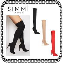 SIMMI Suede Plain Pin Heels Elegant Style Over-the-Knee Boots