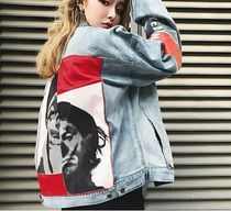 Short Unisex Denim Street Style Plain Denim Jackets Jackets